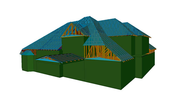 Roof system design 3d drawing