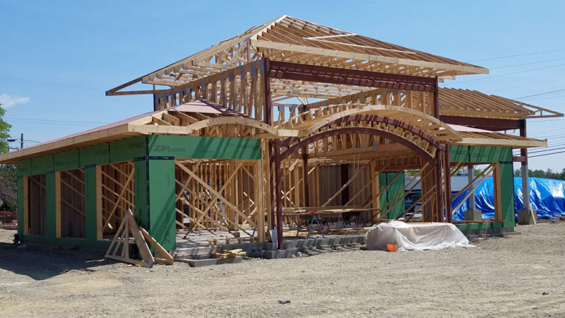 Commercial trusses for Marquette Savings Bank in Meadville, PA, angle view