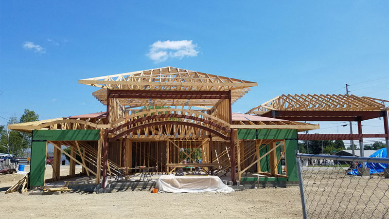Commercial trusses for Marquette Savings Bank in Meadville, PA, street view