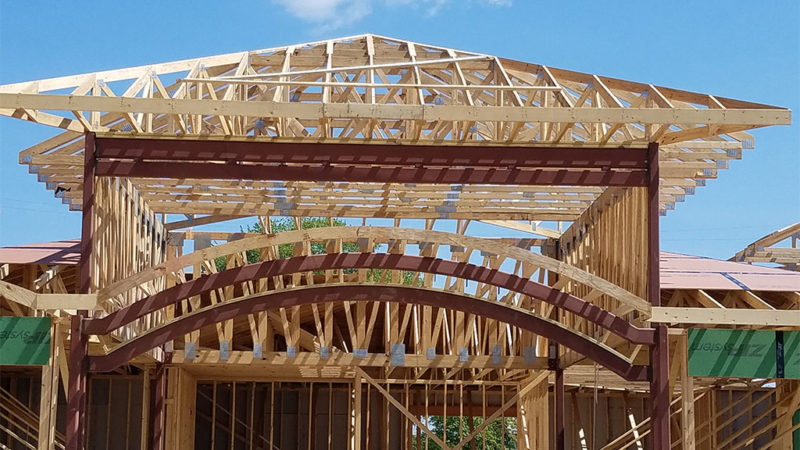 Commercial trusses for Marquette Savings Bank in Meadville, PA, front landscape view